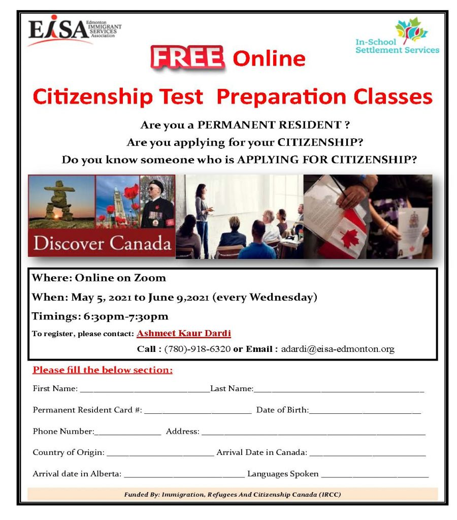 Free Online Citizenship Test Preparation Classes provided by EISA